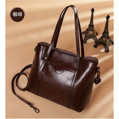 Eldora Genuine Cow Leather Tote Bag Coffee 77251