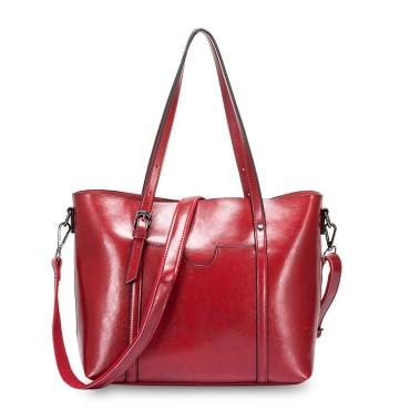 Eldora Genuine Cow Leather Tote Bag Red 77251
