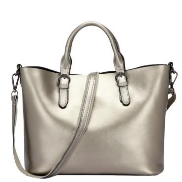 Eldora Genuine Cow Leather Tote Bag Silver 77252