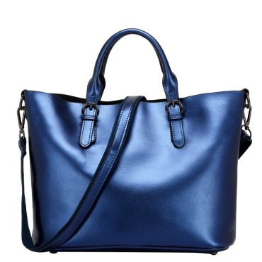 Eldora Genuine Cow Leather Tote Bag Blue 77252