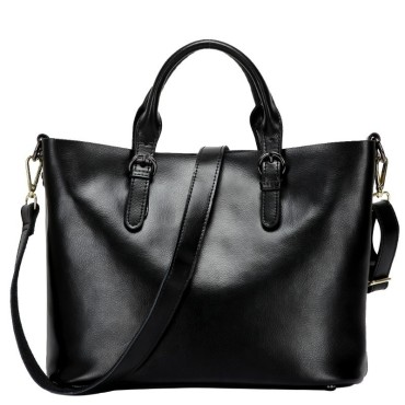 Eldora Genuine Cow Leather Tote Bag Black 77252