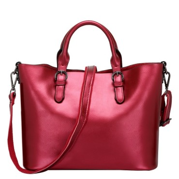 Eldora Genuine Cow Leather Tote Bag Red 77252