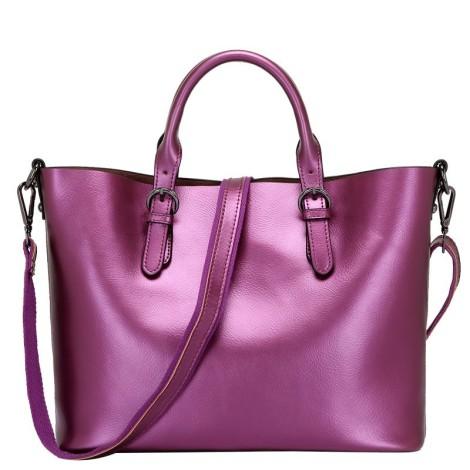 Eldora Genuine Cow Leather Tote Bag Purple 77252