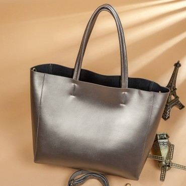 Eldora Genuine Cow Leather Tote Bag Silver 77253