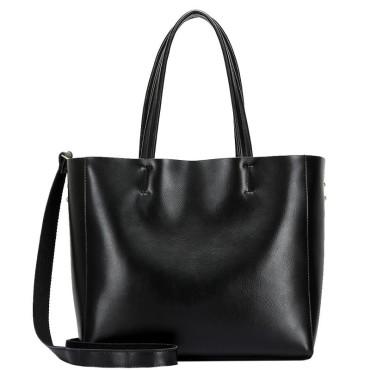 Eldora Genuine Cow Leather Tote Bag Black 77253