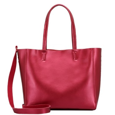Eldora Genuine Cow Leather Tote Bag Red 77253