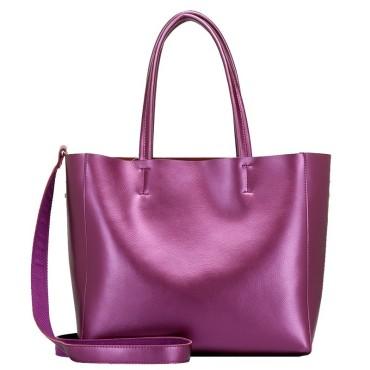 Eldora Genuine Cow Leather Tote Bag Purple 77253