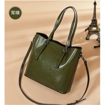 Eldora Genuine Cow Leather Tote Bag Green 77257