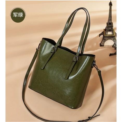 Eldora Genuine Cow Leather Tote Bag Green 77257