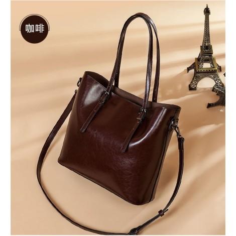 Eldora Genuine Cow Leather Tote Bag Coffee 77257