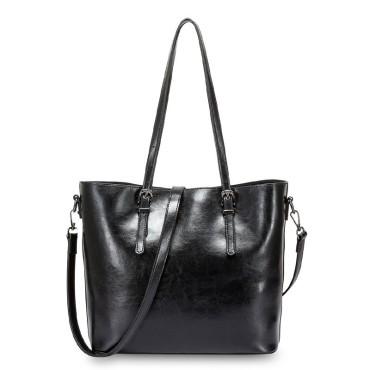 Eldora Genuine Cow Leather Shoulder Bag Black 77257
