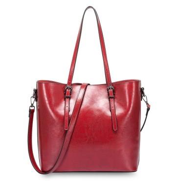 Eldora Genuine Cow Leather Shoulder Bag Red 77257