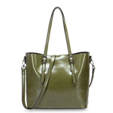 Eldora Genuine Cow Leather Shoulder Bag Green 77257