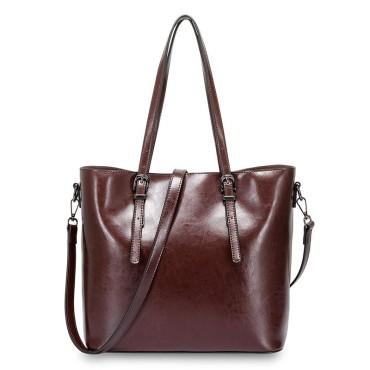 Eldora Genuine Cow Leather Shoulder Bag Coffee 77257