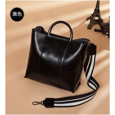 Eldora Genuine Cow Leather Shoulder Bag Black 77258
