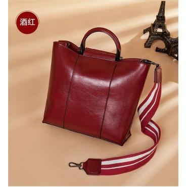 Eldora Genuine Cow Leather Shoulder Bag Red 77258