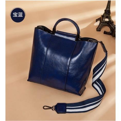 Eldora Genuine Cow Leather Shoulder Bag Blue 77258