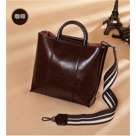 Eldora Genuine Cow Leather Shoulder Bag Coffee 77258