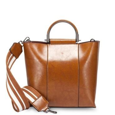 Eldora Genuine Cow Leather Shoulder Bag Brown 77258