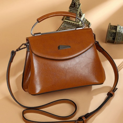 Eldora Genuine Cow Leather Shoulder Bag Brown 77259
