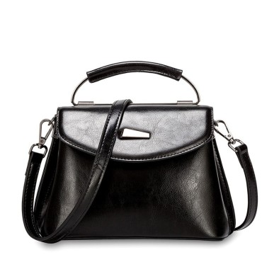 Eldora Genuine Cow Leather Shoulder Bag Black 77259
