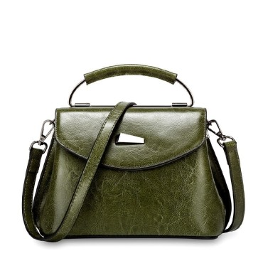 Eldora Genuine Cow Leather Shoulder Bag Green 77259