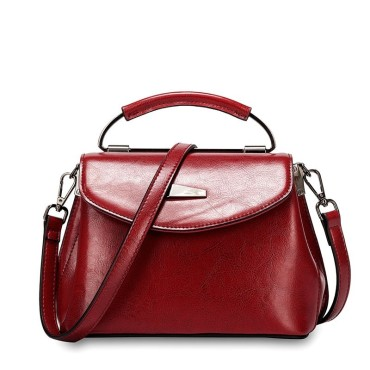 Eldora Genuine Cow Leather Shoulder Bag Red 77259
