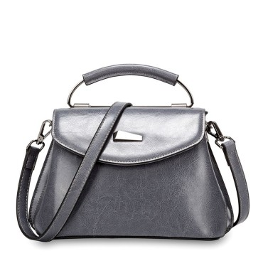 Eldora Genuine Cow Leather Shoulder Bag Grey 77259