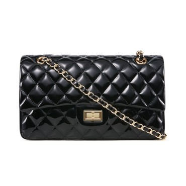 Rosaire « Morgane » Quilted Patent Leather Double Flap Shoulder Handbag with Chain and Leather Strap in Black Color / 76101