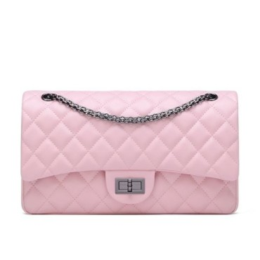 Rosaire « Morgane » Women's Quilted Lambskin Leather Double Flap Shoulder Handbag with Chain in Pink Color / 76111