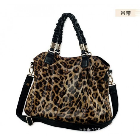 Opay Leopard Style Genuine Leather Tote Bag Black 75247