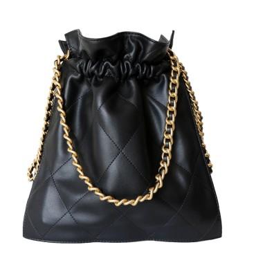 Eldora Genuine Leather Hobo Bag Black 77270