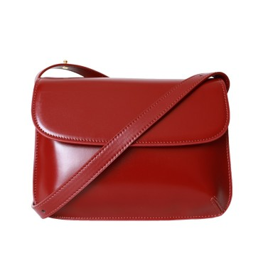 Eldora Genuine Leather Shoulder Bag Red 77271