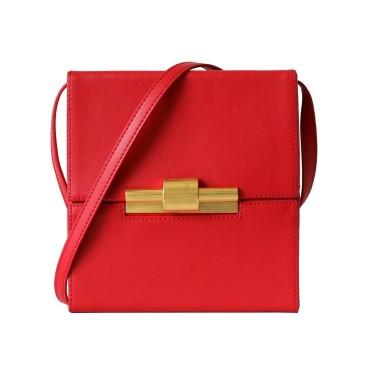 Eldora Genuine Leather Shoulder Bag Red 77285