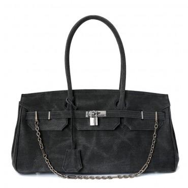 Rosaire « Beaubourg » Canvas Top Handle Padlock Bag Gray 77288