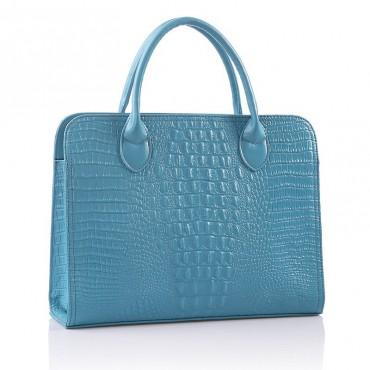 Cora Genuine Leather Tote Bag Blue 75120