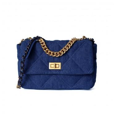 Eldora Genuine Leather Shoulder Bag Blue 77295