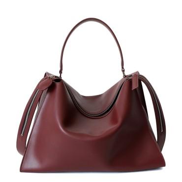 Eldora Genuine Leather Shoulder Bag Dark Red 77296