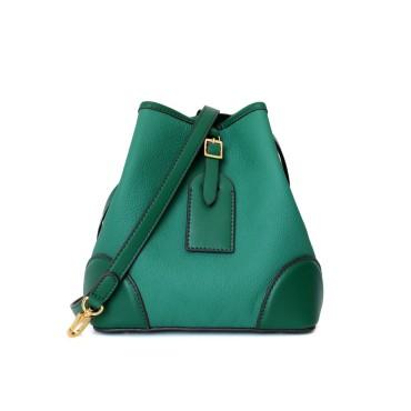 Eldora Genuine Leather Shoulder Bag Green 77298