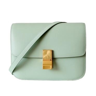 Eldora Genuine Leather Shoulder Bag Light Green 77306