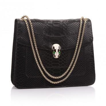 Rosaire « Elsa » Snake Head Shoulder Flap Bag Made of Cowhide Leather with Snakeskin Pattern in Black Color 75121