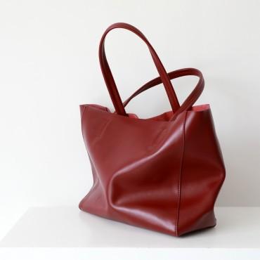 Eldora Genuine Leather Shoulder Bag Red 77312