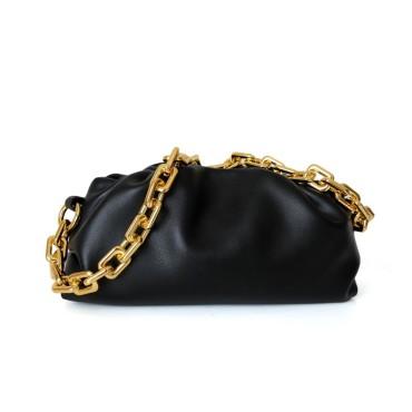 Eldora Genuine Leather Shoulder Bag Black 77313