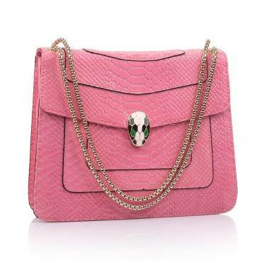 Rosaire « Elsa » Snake Head Shoulder Flap Bag Made of Cowhide Leather with Snakeskin Pattern in Pink Color 75121