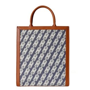Eldora Genuine Leather Tote Bag Grey White 77316