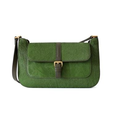Eldora Genuine Leather Top handle bag Dark Green 77317