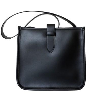 Eldora Genuine Leather Shoulder Bag Black 77318