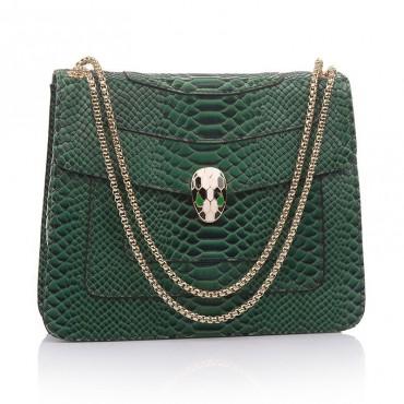 Rosaire « Elsa » Snake Head Shoulder Flap Bag Made of Cowhide Leather with Snakeskin Pattern in Green Color 75121