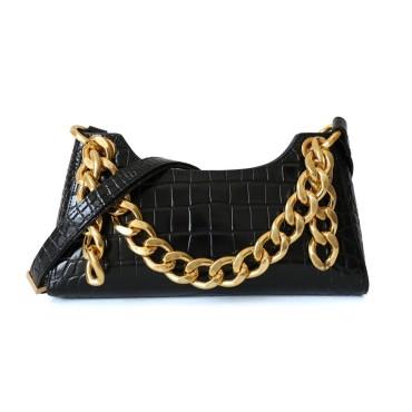 Eldora Genuine Leather Shoulder Bag Black 77321