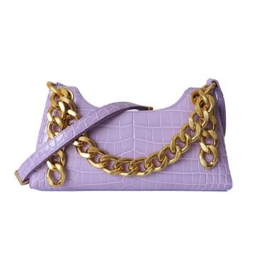 Eldora Genuine Leather Shoulder Bag Purple 77321